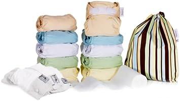 Close Parent 3121120013 - Pack de 10 pañales de tela en colores pastel con interior de minkee + 3 absorbentes de noche + 80 forros + 1 bolsa impermeable: Amazon.es: Salud y cuidado personal