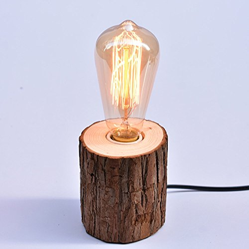 CGJDZMD Creative Wood Stump Desk Lamp Universal E27 Edison Wood Base Table Lamp Restaurant Coffee Extract Bar Decoration Table Light Bedroom Bedside Desktop Night Light Gift