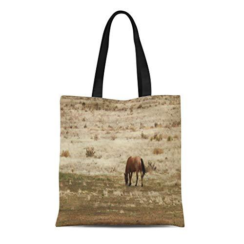 Ablitt Tote Bag Shoulder Bags Canvas Cowboy Working Buckskin Cow Horse Grazes Western Cowgirl Grocery bag Women's Handle Shoulder Tote Shopper Handbag