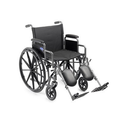 Self Transport Folding Wheelchair with Footrests Solid Castors and Large Rolling Rear Wheels.