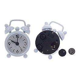Eachbid Smart Applied White Lovely Mini Cartoon Dial Number Round Desk Alarm Clock