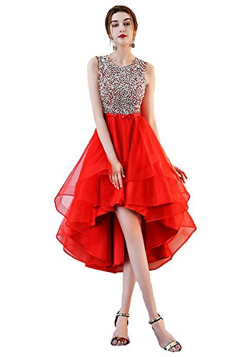 Tulle Red Beauty Low Women Evening Long Emily for Beaded High Layered Dresses Dress 7pwAp0Zxq
