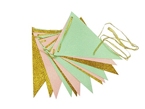 Green Banner (Waner Vintage Style Triangle Flags Bunting Banner Cute Pennants for Wedding Birthday Baby Shower Party Banners (10 feet) (Mint Green, Yellow Gold, Peach Pink))