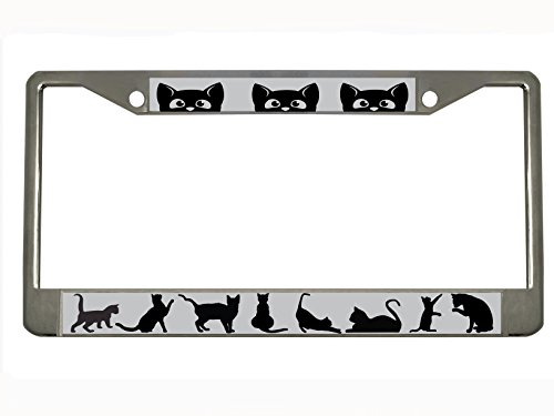 cat-chrome-metal-auto-license-plate-frame-car-tag-holder