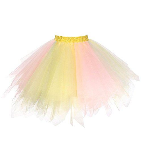 URVIP Women's Vintage 1950s Tutu Multicolor Petticoat Ballet Bubble Dance Skirt Yellow Pink Blue L/XL -