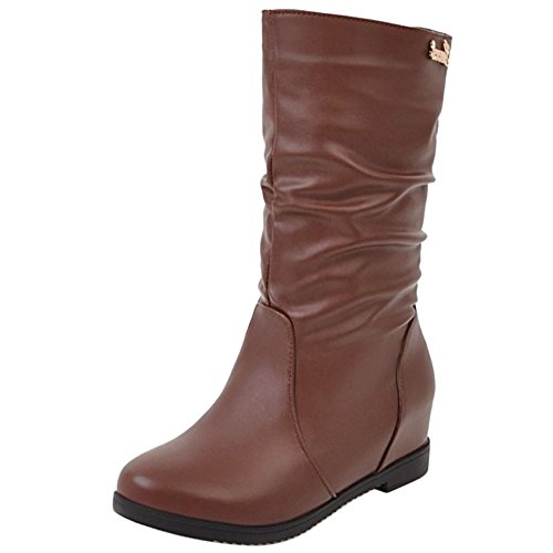 Coolcept Women Comfort Low Flats Slouch Boots Pull On Mid Calf Brown