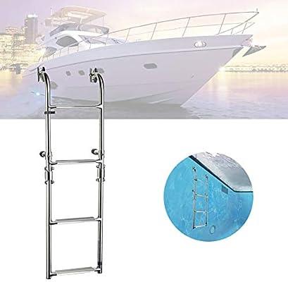 ZLI Escalera de Barco Escalera de Embarque para Yates en 4 Pasos, Escaleras Plegables de Acero Inoxidable Marine Dock Pontón con Escalón Extra Ancho - 22cm / 8,7inch (Size : 4 Steps): Amazon.es: Hogar