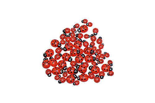 Bilipala 60pcs Mini Wooden Ladybugs Stickers with 3 Sizes for Table and Wall Decor  ()
