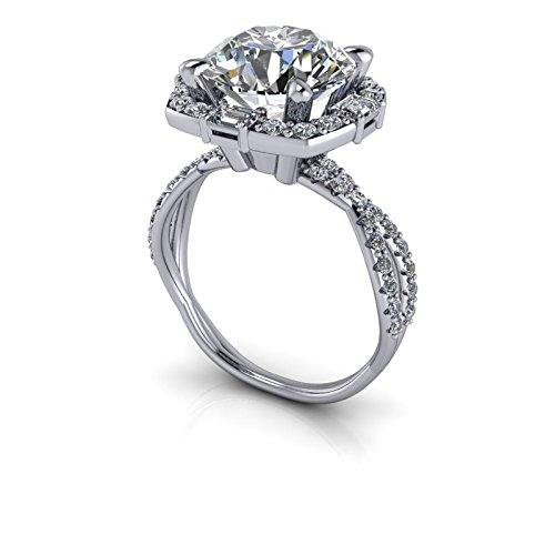 Amazon com: Diamond Halo Unique Engagement Ring SUPERNOVA