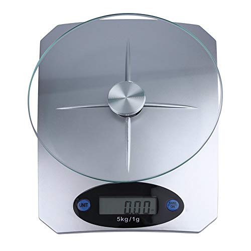 Banghotfire 5Kg/11lbs x 1g/0.1oz Digital Kitchen Scale Glass Top Food Diet Scale Home Silver ()