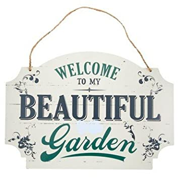 Amazing VINTAGE SHABBY CHIC GARDEN WOODEN HANGING SIGN U0026quot; WELCOME TO MY  BEAUTIFUL ...