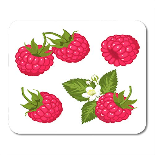 Nakamela Mouse Pads White Compotes Green Berry Ripe Juicy Berries of Raspberry with Leaves and Flowers Red Color Cream Mouse mats 9.5