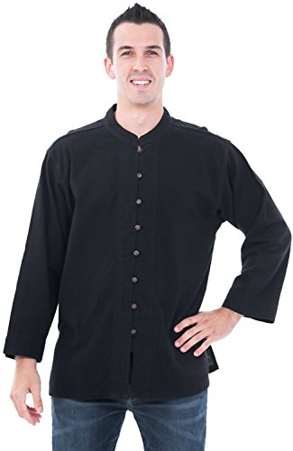 Alexander Del Rossa Mens Cotton Shirt, Long Sleeve High Collar Top, Medium Black (A0250BLKMD)