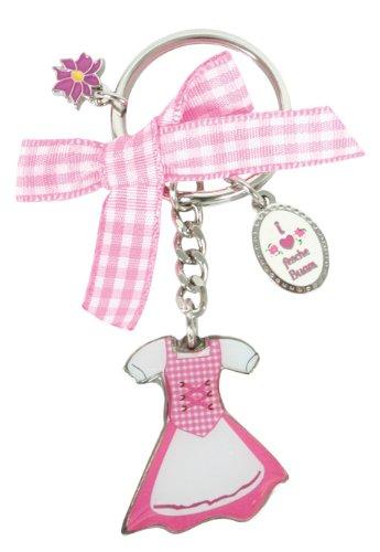 Trachten Schlüsselanhänger Dirndl mit 3 Anhängern, Trachtenanhänger mit rosa Schleife
