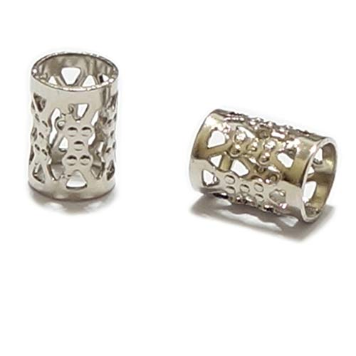 m 18k Platinum Plated Filigree Pattern Tubes Large Hole Spacer Beads (Hole ~4.9mm) CF106-P ()