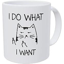 Wampumtuk I Do What I Want Mad Cat Face Triangles 11 Ounces Funny Coffee Mug