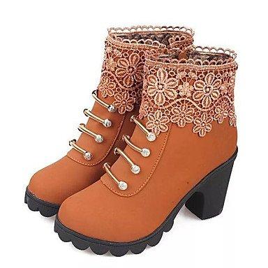 RTRY Zapatos de mujer invierno cuero Nappa bomba básica moda botas botas Chunky talón botines/botines de Casual Negro Marrón US5.5 / EU36 / UK3.5 / CN35