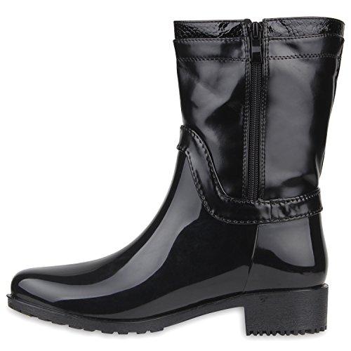 Rockige Damen Stiefeletten Gummistiefel Profilsohle Wasserdichte Boots Stiefel Gumistiefeletten Lack Damenschuhe Nieten Flandell Schwarz Symbol