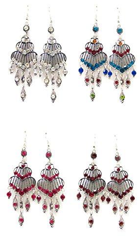 Linpeng 4 Pairs Chandelier Earrings for Women Girls/Dangle Drop Earrings/Size Around Length 2.75