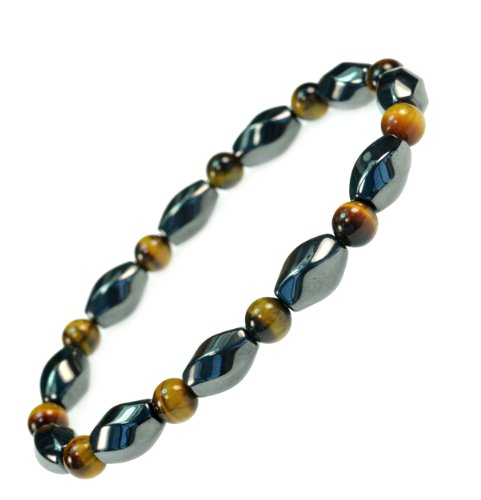 Price comparison product image 3 X Power Beautiful Magnetic Hematite with Simulated Tiger Eye Bracelet -Good for Healing and Energy or Arthritis Pain Relief