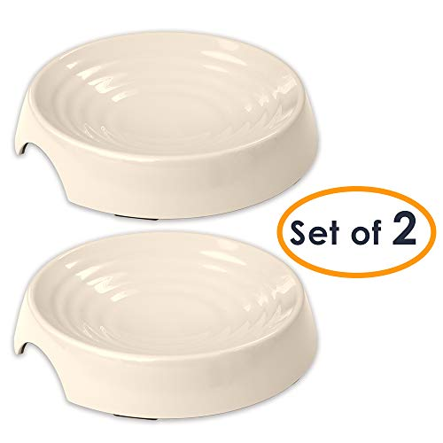 CatGuru New Premium Whisker Stress Free Cat Food Bowls, Cat Food Dish. Provides Whisker Stress Relief and Prevents Overfeeding! (Round - Set of 2 Bowls, Ivory)
