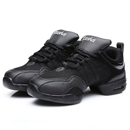 Hroyl Dames Boost Dance Sneaker Jazz Sneaker Leer En Mesh Upper Zorgen Ervoor Dat Je Kunt Genieten Van Model-b55 Black-6 Dancing