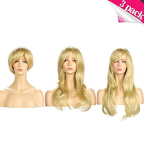 [Blonde Wig, YOPO 3 Pack Wig Short/Mid-length/Long Platinum Blonde Wig Natural Wavy Long Synthetic Wigs for Women Girls Hair with Bangs] (Mermaid Wig In Auburn)