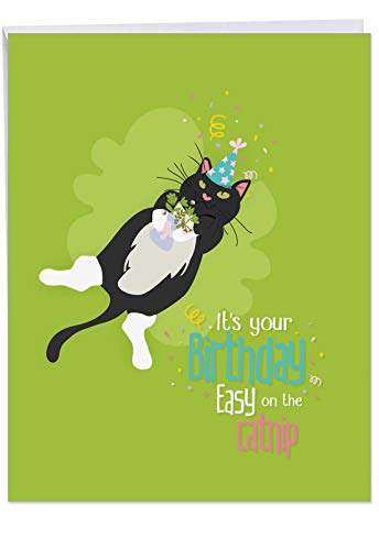 Extra Large Happy Birthday Greeting Card (Envelope Included) - Funny and Adorable Catty Congratulations Card - Big Bday Appreciation Letter for Kitten, Cat Lovers 8.5 x 11 Inch -