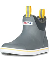 "Performance Series 6"" Men's Full Rubber Ankle Deck Boots, Gray & Yellow (22735)"