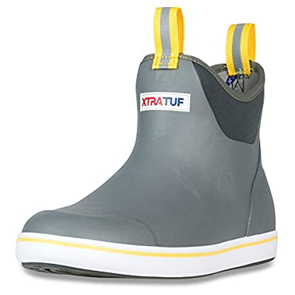 XTRATUF Performance Series 6″ Men's Full Rubber Ankle Deck Boots, Gray & Yellow (22735)