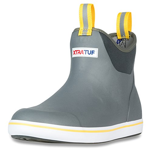 XTRATUF Performance Series 6' Men's Full Rubber Ankle Deck Boots, Gray & Yellow (22735)