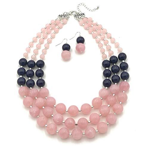 Ufraky Handmade Acrylic Bead Pearl Bib Bubble Statement Necklace for Women (Pink)