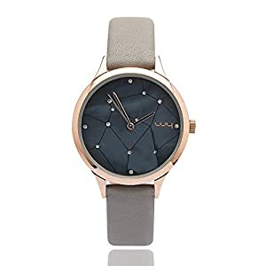 WY Ladies Water Resistant Wrist Watch for Women Genuine Leather Band - Female Grey