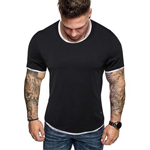 Amazon.com: Mens O-Neck Hole Stitching Short Sleeves, Sharemen Fashion Versatile Shirt Solid Color Casual Sports T-Shirt(Gray,XL): Clothing