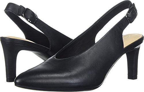 CLARKS Women's Calla Violet Pump, Black Leather, 7.5 Medium US