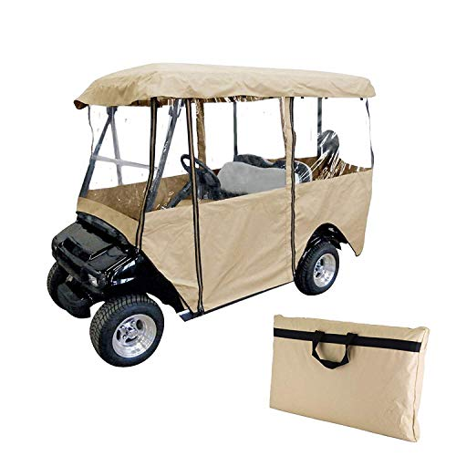 Ez Go Golf Cart Enclosures - Happybuy Golf Cart Cover 4-Sided Golf Cart Enclosure Club Car EZGO Yamaha Portable Premium Driving Enclosure for 4 Passengers roof up to 79'' Golf Cart