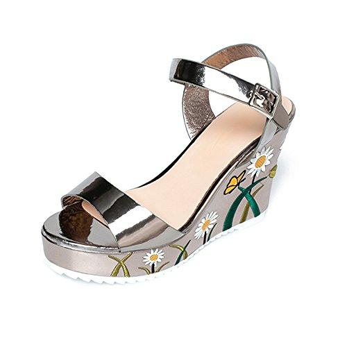 Calzado de Mujer, Ularma Las Mujeres Impresa Pendiente Sandalias Verano Cuñas Plataforma Toe Zapatos De Tacón Alto Oro