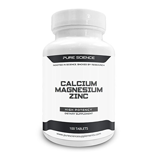Pure Science Calcium 1000mg Magnesium 400mg Zinc 25mg – 1425 mg – Supports Bone Health, Nerve & Muscle Function, Promotes Normal Growth, Metabolism & Immunity - 100 Tablets