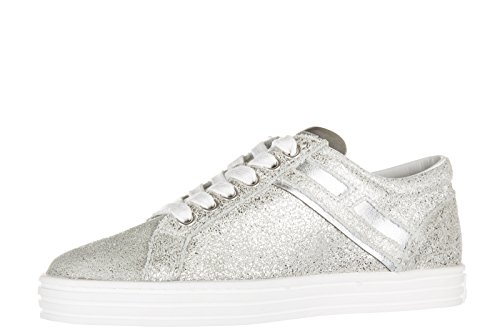 Hogan Rebel scarpe sneakers donna in pelle nuove rebel r141 zip argento