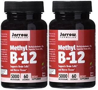Jarrow Formulas Methylcobalamin (Methyl B12) 5000 mcg CHERRY 120 Lozenges, 2 Bottles - Jarrow B-12 Vitamins