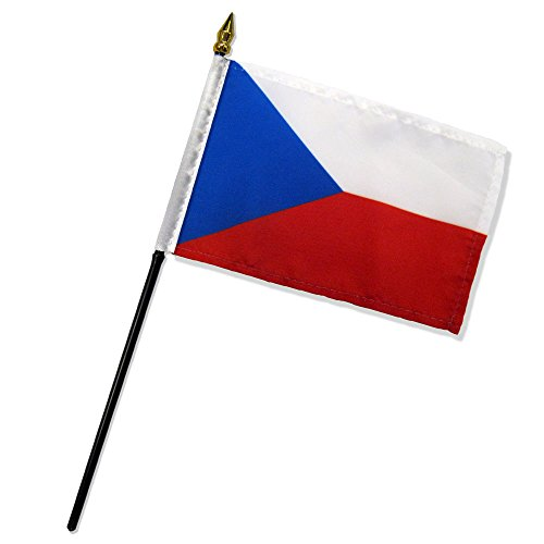 Quality Standard Flags One Dozen Czech Republic Stick Flag, 4 by 6