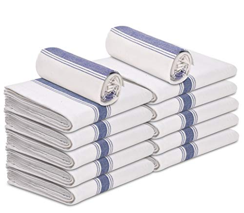 """Talvania White Kitchen Dish Towels - 100% Cotton Flour Sack Tea Cloth with Blue Herringbone Stripe, Pack of 12, 15"""" x 25"""" The Perfect Classic White Dish Towel For Bars, Kitchens, Counters & Much More."""