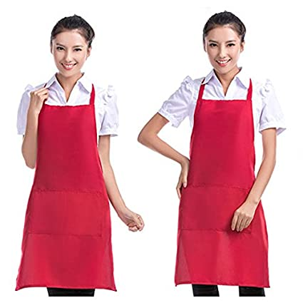 Men Women Solid Cooking Kitchen Hotel bakery Restaurant Bib Apron Dress Pocket