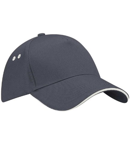 contrast Beechfield Oyster Ultimate cap 5 sandwich Graphite Grey panel Unisex peak with SqqrFI