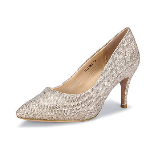 - IDIFU Women's IN3 Classic Slip On Pointed Toe Mid Heel Dress Pump (Gold Glitter, 6 B(M) US)