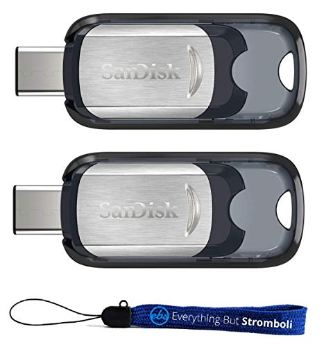 SanDisk 32GB Ultra USB Type-C Flash Drive (Two Pack Bundle) works with Android Phones with USB-C Ports (SDCZ450-032G-G46) Plus (1) Everything But Stromboli (TM) Lanyard (Sandisk 32gb Flash Drive Bundle)