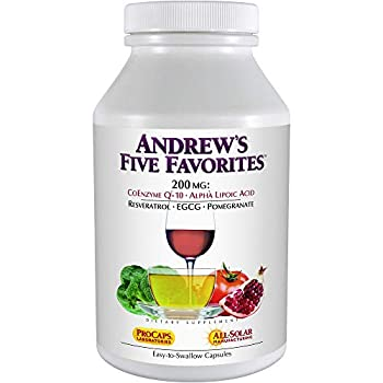 Image of Andrew Lessman Andrew's Five Favorites 500 Capsules – Provides 200mg Each of Coenzyme Q-10, Resveratrol, EGCG, Pomegranate and Alpha Lipoic Acid, Powerful Anti-Oxidant Support, No Additives Health and Household
