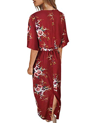 Neck Sleeve Womens Floral Short Belt Red Dress Dresses Split V Boho Allumk Wine Casual with FTqIwYI
