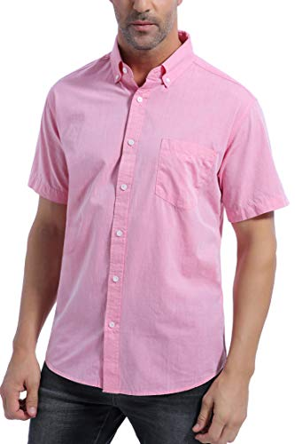 Coevals Club Men's 100% Cotton Short Sleeve Casual Button Down Shirt (#4 Pink, S)