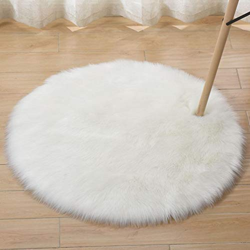 HEBE Faux Fur Rug White Round Area Rugs Indoor Ultra Soft Fluffy Bedroom Floor Sofa Living Room 3 x 3 Feet (Fluffy Area Round Rugs)